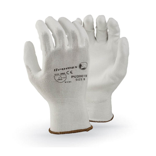 White PU palm coated on white knitted shell, size 10