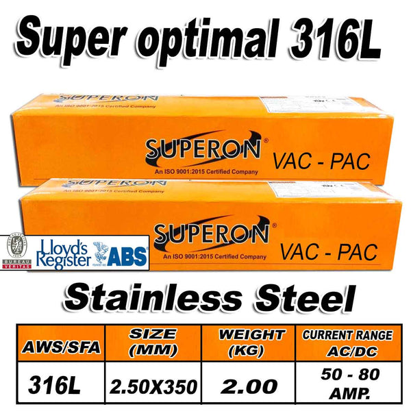 1) SUPERON SUPER OPTIMAL 316L 2.5MM STAINLESS STEEL ELECTRODES 2KG - Just Tools Pinetown (PTY) Ltd