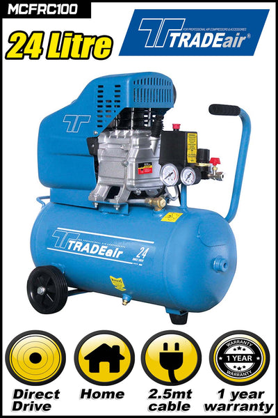 TRADEAIR DIRECT DRIVE 1.5HP COMPRESSOR 24L - Just Tools Pinetown (PTY) Ltd