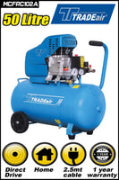 TRADEAIR DIRECT DRIVE 2HP COMPRESSOR 50L - Just Tools Pinetown (PTY) Ltd