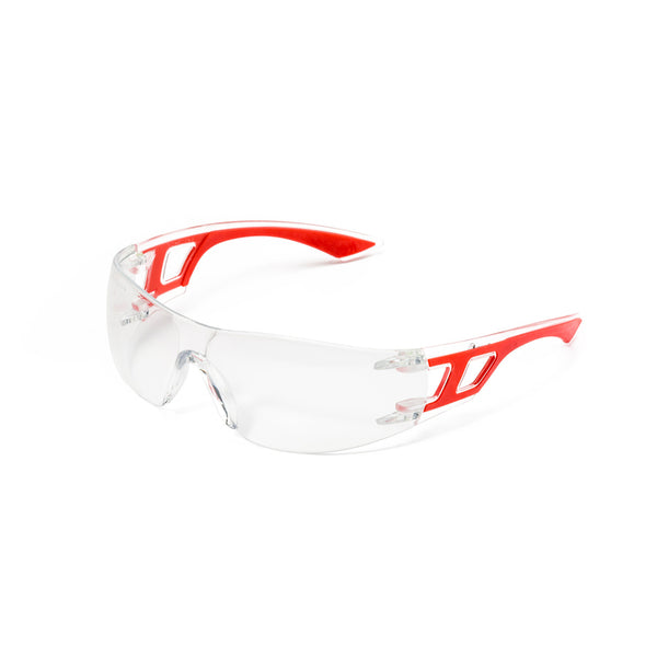 DROMEX SPORTY COOL SPECTACLE CLEAR, ANTI SCRATCH & ANTI FOG, RED/BLUE/LIME FRAME - Just Tools Pinetown (PTY) Ltd