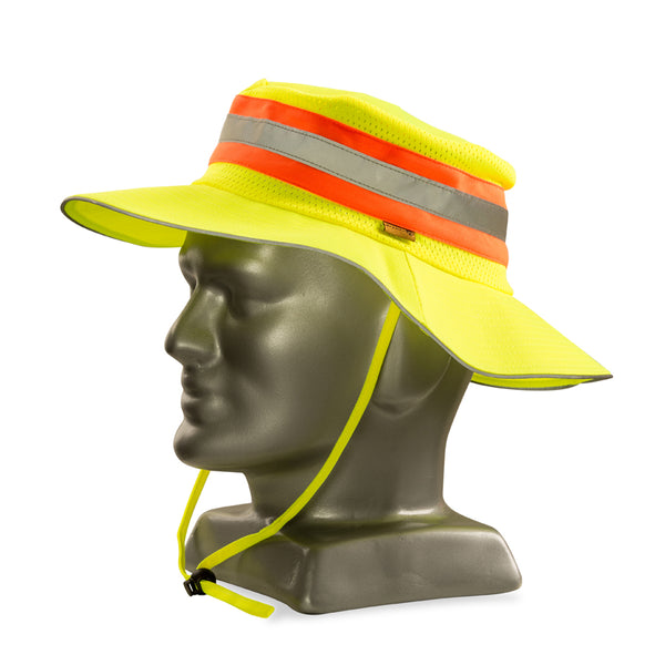 DROMEX LIME reflective bush hat with orange-silver tape - Just Tools Pinetown (PTY) Ltd
