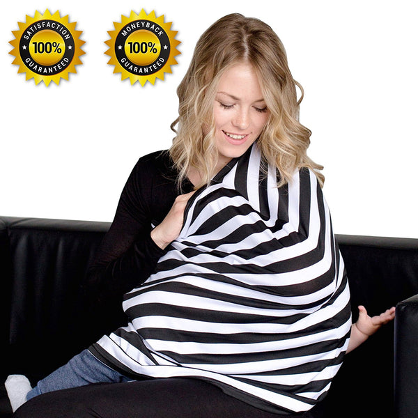 Black & White Stripes Zebra Nursing Cover - Breastfeeding Cover
