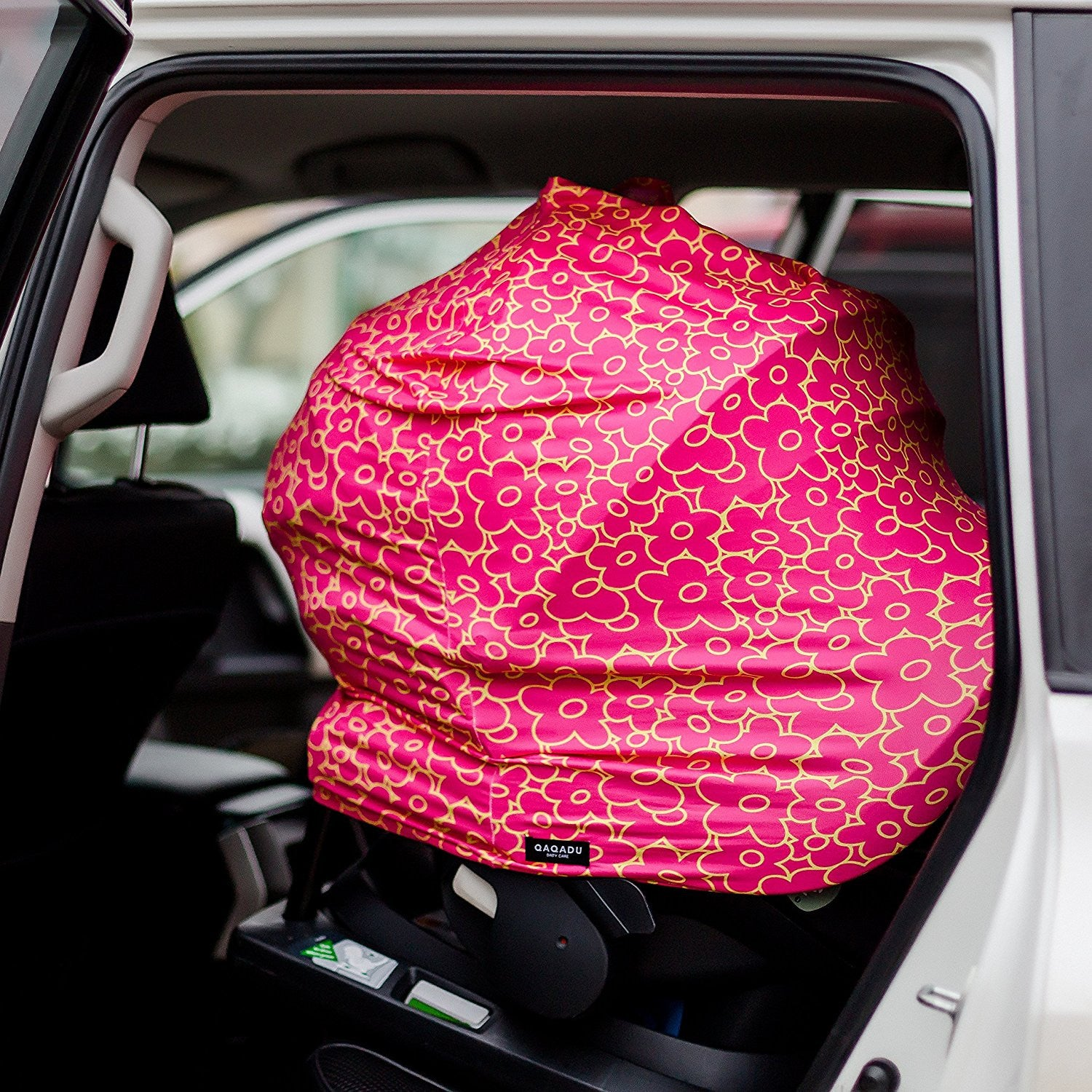 Red Flowers Nursing Cover - Canopy Car Seat Cover