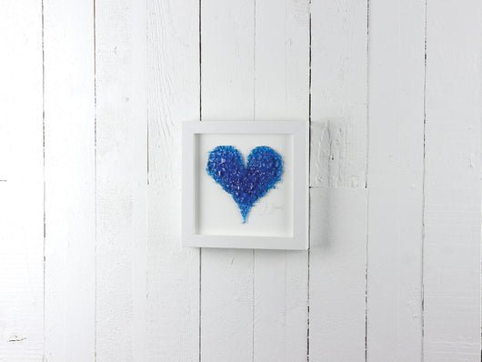Medium Turquoise Frit Heart Art Frame