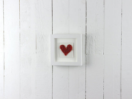 Red Heart on square small art frame