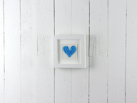 Turquoise Heart on square small art frame