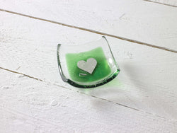 Silver Heart and Green Earring Dish