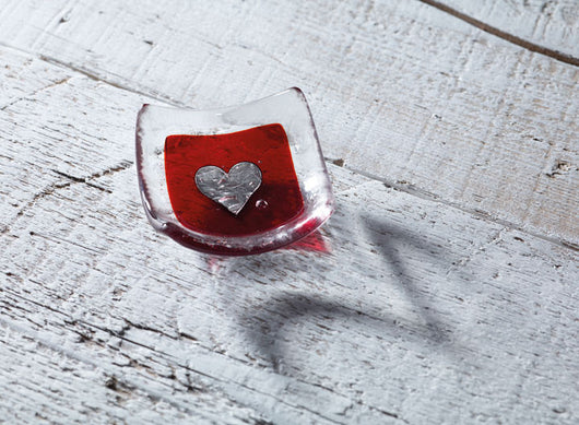 Photo of Silver heart & Red 6cm Earring Dish
