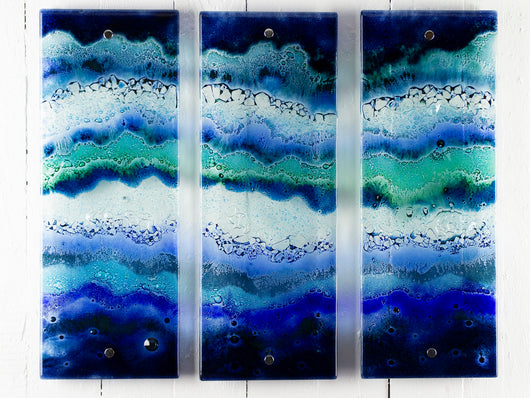 Artisan Blue Wave Small Triptych - 1