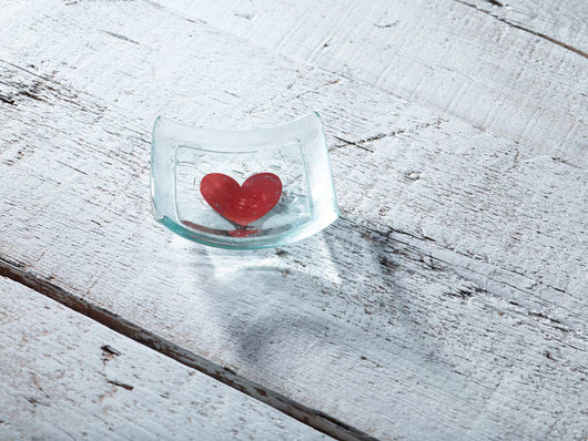 Classic Klaar Red Heart Square Jewellery Dish