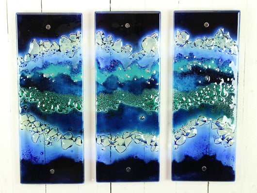 Artisan Small Blue Wave Triptych