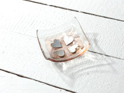 Photo of Vintage Hearts Coral Square Jewellery Dish