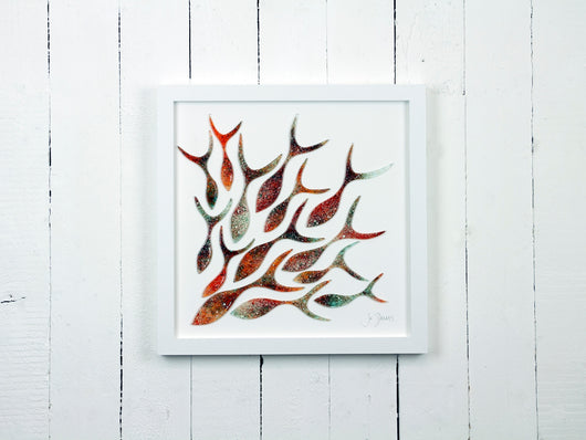 SHOALING FISH LARGE ART FRAME - 14