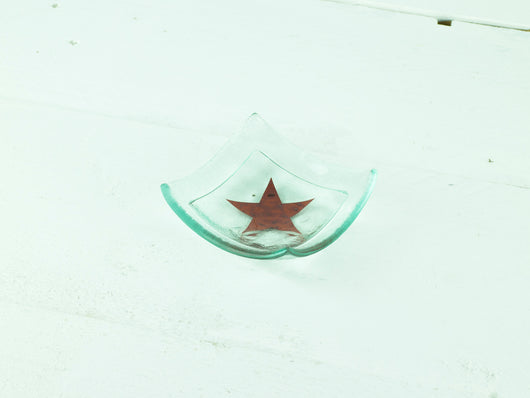 RED STAR SMALL SQUARE DISH