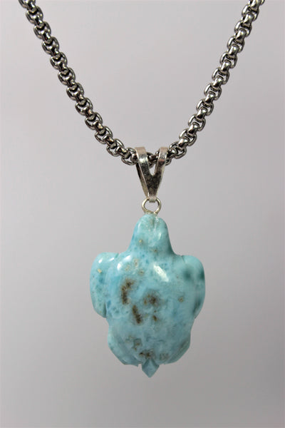 Larimar Turtle Pendant Animal Charm Necklace