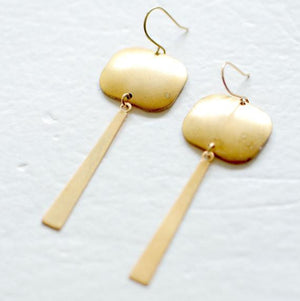 Nest Pretty Things - Long Golden Square And Bar Earrings