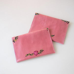 "StudiOH, Shoppe! - Pink Karlita Fern Boho Leather Clutch - 8""X5.5"""