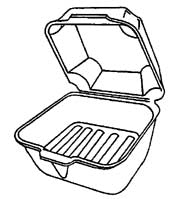 Foam Hinged Sandwich Container