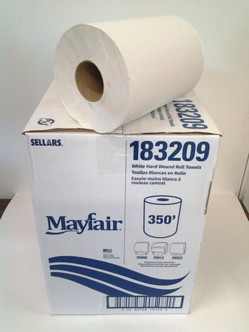 "White Hard Wound Roll Towel - 8"" x 350' Rolls"