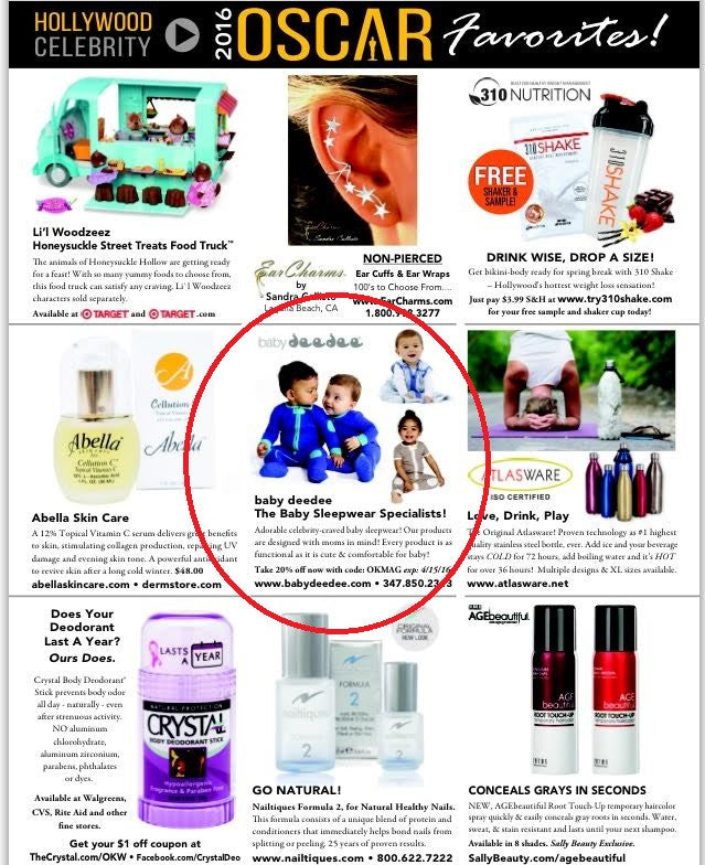 Baby Deedee sleepsie and sleep nest lite featured in US Weekly Magazine