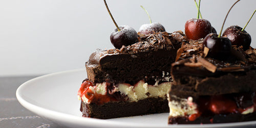 Low-Calorie Black Forest Brownie Cake