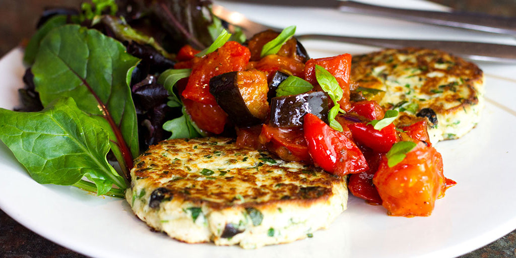 Low-Cal Olive & Herb Fritters With Ratatouille