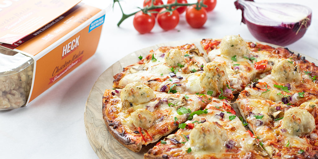 Low-Cal Chicken Meatball Pizza