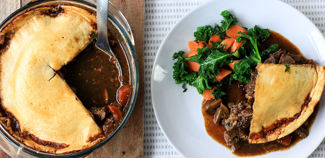 Low Calorie Pie Top (With Beef and Stout Stew)