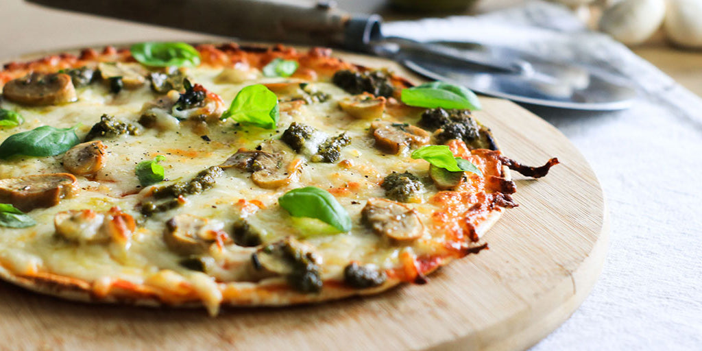 Low-Calorie Mushroom & Pesto Pizza