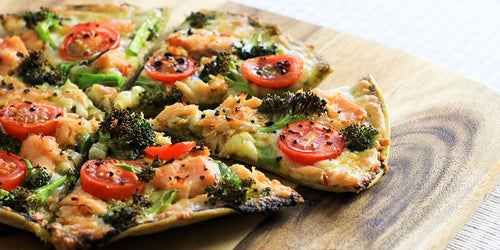 Keto Salmon & Broccoli Pesto Pizza