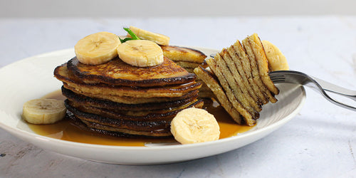 Banana Pancake Stack With Low-Sugar Syrup