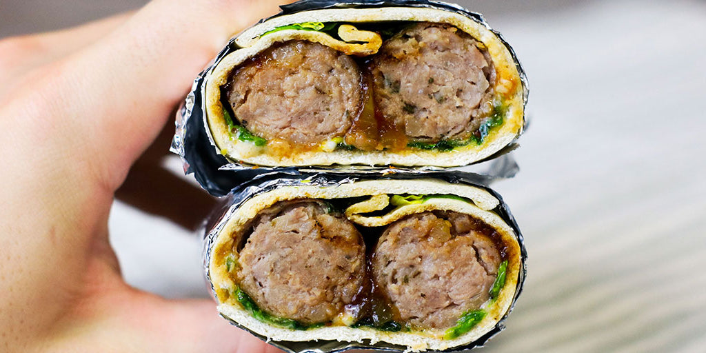 Low-Carb Sausage & Sticky Onion Wrap