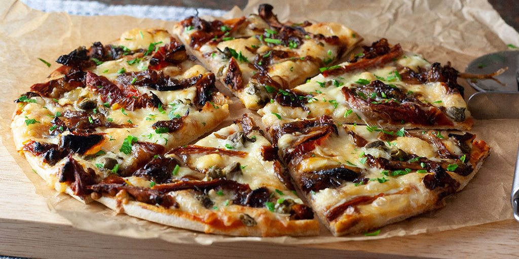 Low-Calorie Camembert & Sticky Onion Pizza