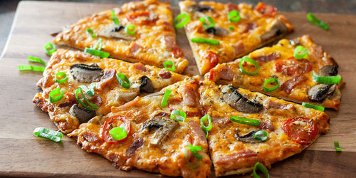 Low-Carb Red Cheddar, Bacon & Mushroom Pizza