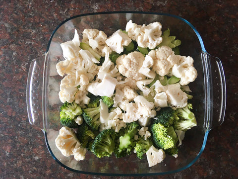 Low cal meal broccoli and cauliflower