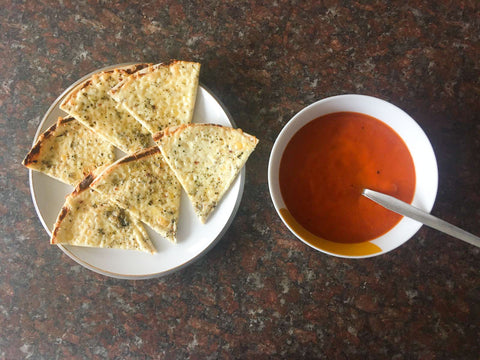 Low calorie Meals soup and crackers