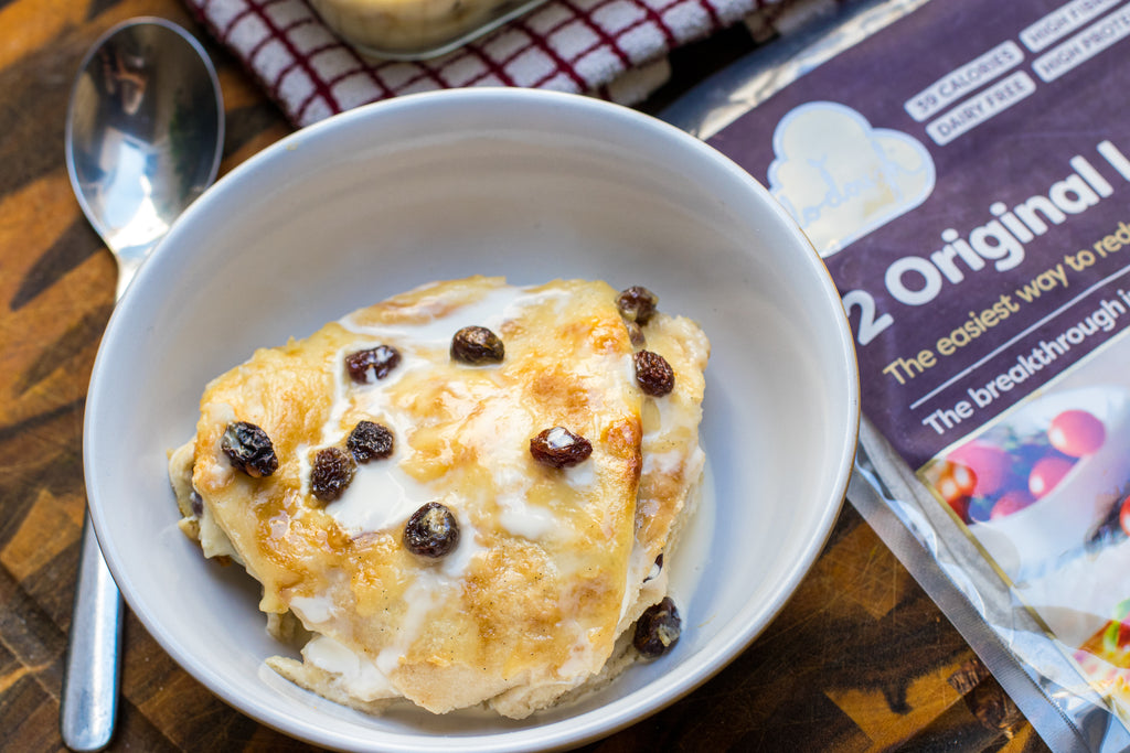 Low calorie bread and butter mug cake with Lo-Dough base