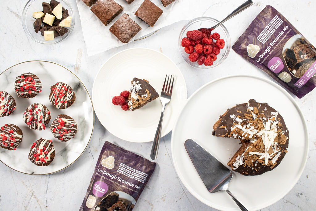 Table of low calorie cakes with Lo-Dough brownie mixes