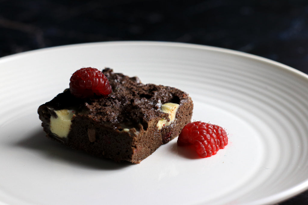 white chocolate and raspberry brownies