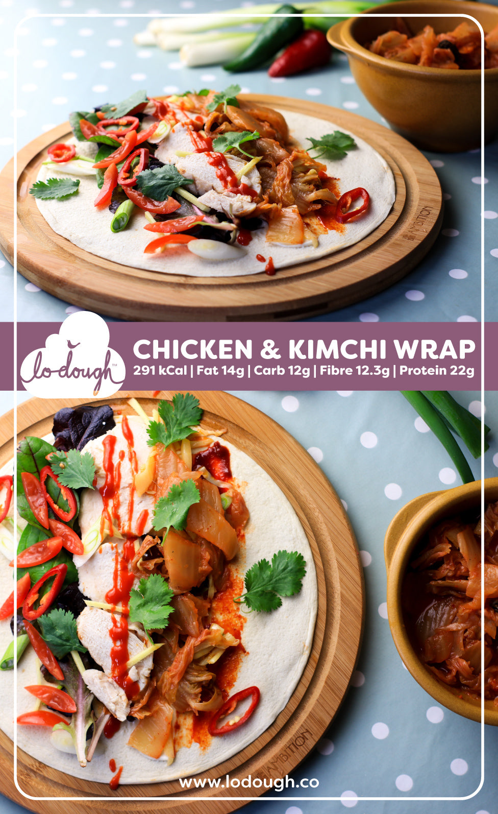 Low Calorie Wrap - Chicken and Kimchi