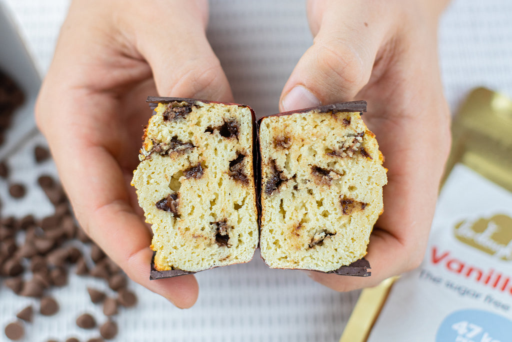 Chocolate chip muffins cross section