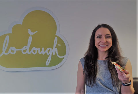 Emilia Thompson Phd with Lo-Dough pizza