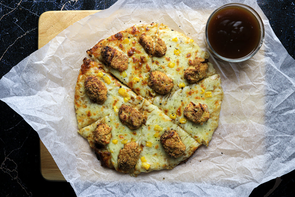 low calorie popcorn chicken pizza