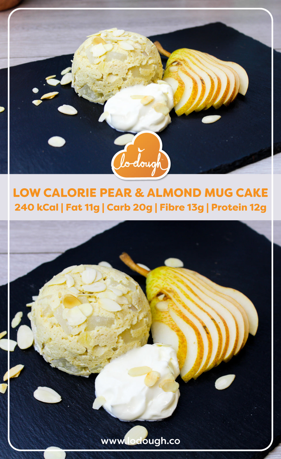 Lo-Dough Pear and Almond Mug Cake