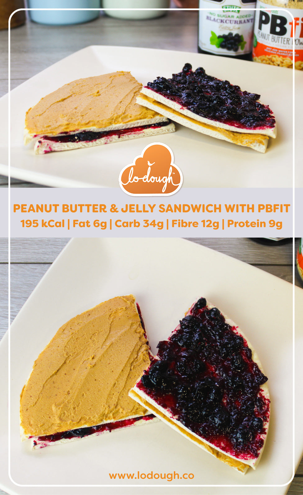Peanut Butter & Jelly Sandwich with PBfit