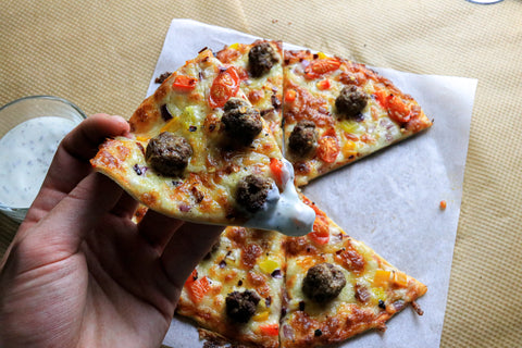 low carb Homemade Meatball Pizza
