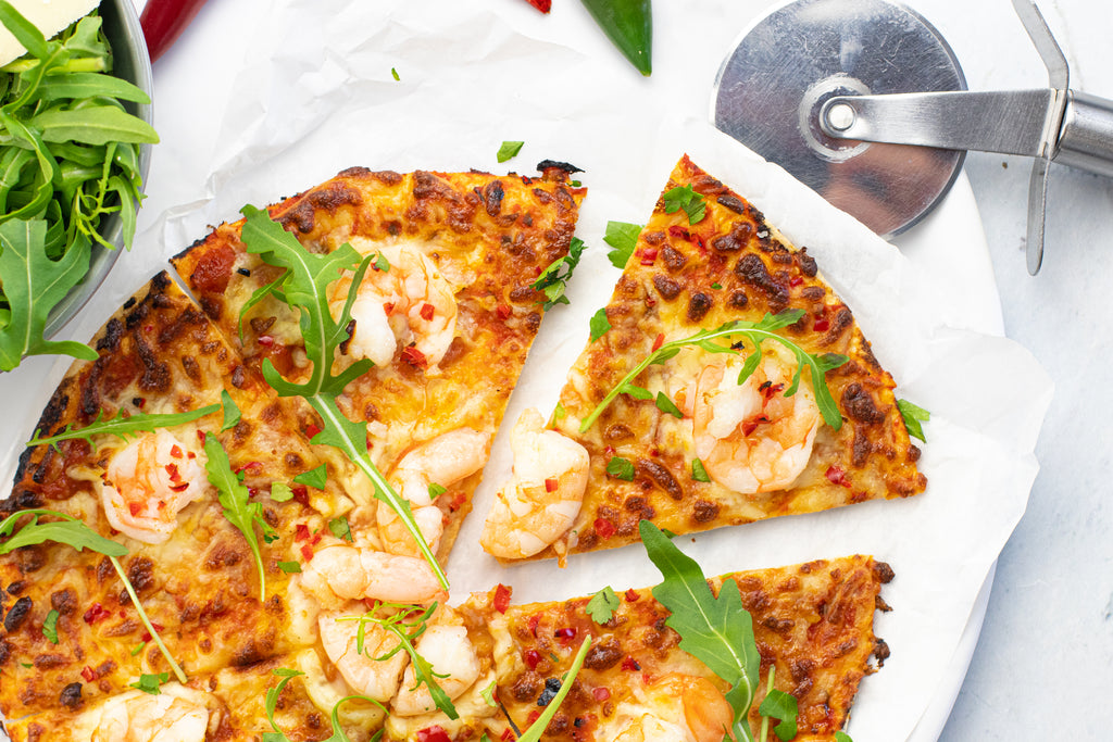 Low carb prawn pizza with Lo-Dough bases