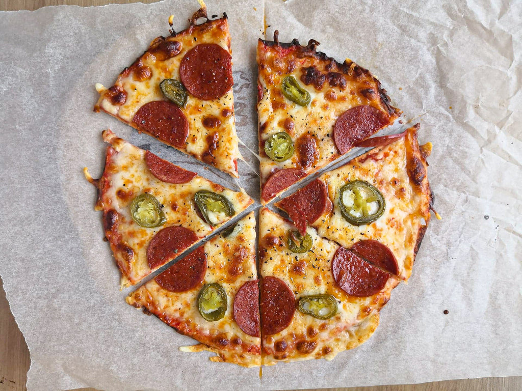 Low carb pepperoni pizza