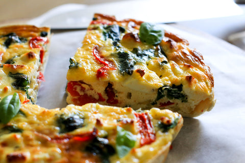 Red Pepper, Spinach & Feta Quiche